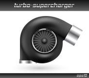 Turbocompresseur de voiture de vecteur d'isolement sur le fond blanc Icône noire réaliste de turbine Superchardger de accord de t Images stock