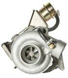 Turbocompresseur en acier d'isolement sur le fond blanc Pièces d'auto photo stock