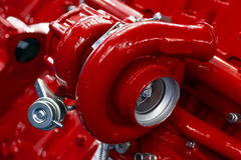 Turbocompressor van rode motor stock afbeelding