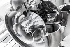 Turbocompressorstructuur met dwarsdoorsnede royalty-vrije stock afbeelding