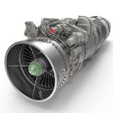 Turbofan aircraft engine on white. 3D illustration, clipping path Stock Image