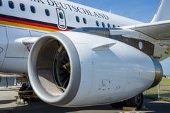Turbofan of corporate jetliner Airbus A319 CJ Bundesrepublik Deutschland. Royalty Free Stock Photo