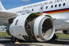 Turbofan of corporate jetliner Airbus A319 CJ Bundesrepublik Deutschland. Royalty Free Stock Images
