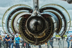 Turbofan engine General Electric CF6-80C2. BERLIN, GERMANY - JUNE 03, 2016: Turbofan engine General Electric CF6-80C2 of medical aircraft Airbus A310-304 MRTT Royalty Free Stock Photo