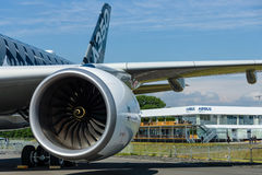 Turbofan engine of the newest airplane Airbus A350-900 XWB Royalty Free Stock Photo