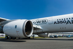 Turbofan engine of the newest airplane Airbus A350-900 XWB. Royalty Free Stock Photos