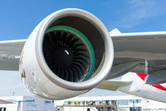 A turbofan engine Rolls-Royce Trent 900 the largest aircraft in the world - Airbus A380. Stock Photos