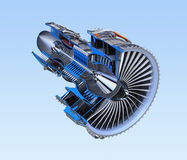 Turbofan jet engine`s cross section wireframe isolated on blue background Stock Photography