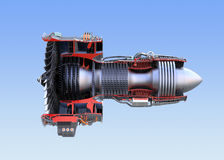 Turbofan jet engine`s cross section wireframe isolated on blue background. 3D rendering image Royalty Free Stock Photos