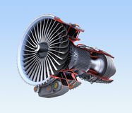 Turbofan jet engine`s cross section wireframe isolated on blue background Royalty Free Stock Photo