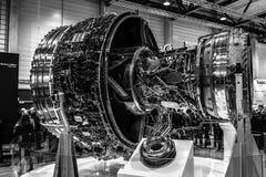 Turbofan jet engines Rolls-Royce Trent XWB. BERLIN, GERMANY - APRIL 25, 2018: Turbofan jet engines Rolls-Royce Trent XWB. Black and white. Exhibition ILA Berlin stock photo