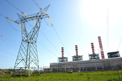 Turbogas power plant power line. A power line turbogas plant produces electricity from gas combustion in special gas turbines that perform the function of an stock photos
