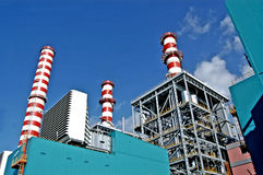 Turbogas power plant. A  turbogas plant produces electricity from gas combustion in special gas turbines that perform the function of an internal combustion Royalty Free Stock Image