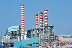 Turbogas power plant. A  turbogas plant produces electricity from gas combustion in special gas turbines that perform the function of an internal combustion Royalty Free Stock Photo