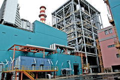 Turbogas power plant. A  turbogas plant produces electricity from gas combustion in special gas turbines that perform the function of an internal combustion Stock Photo