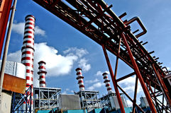Turbogas power plant. A  turbogas plant produces electricity from gas combustion in special gas turbines that perform the function of an internal combustion Royalty Free Stock Photography