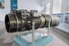 Turbojet aircraft engine RD-33. Saint Petersburg, Russia - June 25, 2017: turbojet aircraft engine RD-33 of the Soviet production. Mounted on the famous MiG-29 Royalty Free Stock Photos