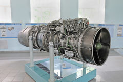 Turbojet aircraft engine. Saint Petersburg, Russia - June 25, 2017: turbojet aircraft engine RD-33 of the Russian production. Updated engines installed on Royalty Free Stock Photography