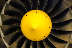 Turbojet engine blades close-up in warm light shine Royalty Free Stock Image