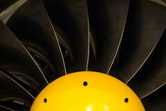 Turbojet engine blades close-up in warm light shine.  Stock Photos