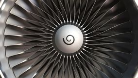 Turbine engine blades close-up, realistic loopable 3D animation. Turbojet turbine engine blades close up stock footage