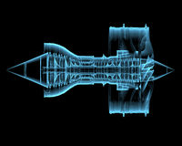 Turboladdarejetmotor (genomskinliga blått för röntgenstrålen 3D) Arkivfoton
