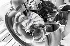 Turboladerstruktur mit Querschnitt Lizenzfreies Stockbild