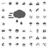 Turbolenza e nuvola con l'icona della pioggia Icone di vettore del tempo messe Immagine Stock