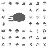 Turbolenza ed icona della nuvola Icone di vettore del tempo messe Fotografie Stock Libere da Diritti