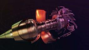 Turboodrzutowego Samolotowego samolotu Parowozowa Czarna noc ilustracji