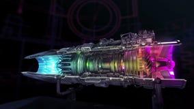 Turboodrzutowego silnika przekroju poprzecznego wnętrzy strumień ilustracja wektor