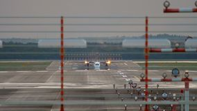 Turboprop aircraft accelerate before departure. Turboprop aircraft accelerate before take-off. Slow motion. Dusseldorf Airport, Germany stock footage