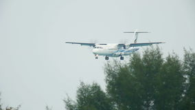 Turboprop aircraft approaching stock video footage