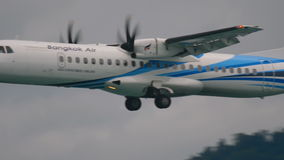 Turboprop aircraft approaching stock video