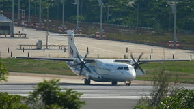 Turboprop aircraft taxiing to the start of the executive. PHUKET, THAILAND - NOVEMBER 28, 2016: Bangkok Airways ATR 72-600 HS-PZC before take-off from Phuket stock video