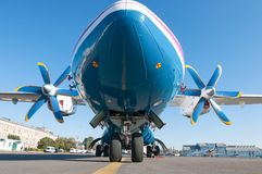 Turboprop airliner for small and medium lines Stock Photos