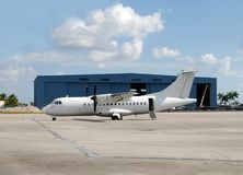Turboprop airplane for regional travel Stock Photo