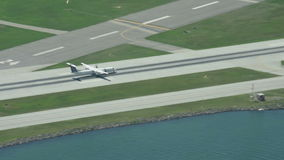 Turboprop airplane takes off stock footage