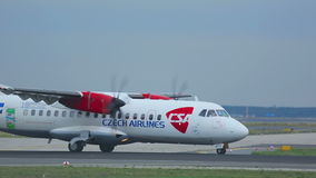 Turboprop ATR-42 accelerating. FRANKFURT AM MAIN, GERMANY - SEPTEMBER 5, 2015: Czech Airlines ATR-42 OK-KFO accelerate before take-off. Unofficial spotting in stock footage