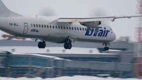 Turboprop ATR-72 approaching stock video