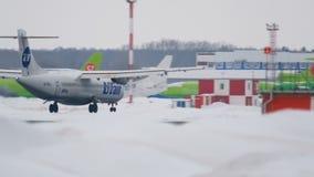 Turboprop ATR-72 landing stock footage