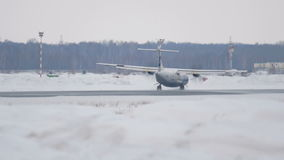 Turboprop ATR-72 landing stock video footage