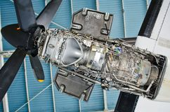 Turboprop engine of the aircraft for repair, maintenance. Stock Image