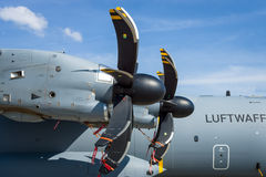 Turboprop engine Europrop TP400-D6 of military transport aircraft Airbus A400M Atlas. Royalty Free Stock Images