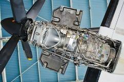 Turboprop van de vliegtuigen voor reparatie, onderhoud stock afbeelding