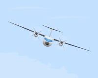 Turbopropflygplan i flyg Royaltyfri Foto