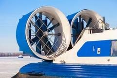 Turbopropulseur d'un aéroglisseur naval sur la glace Image libre de droits