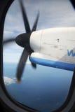 Turbopropulsore durante il volo Immagine Stock Libera da Diritti