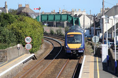 Turbostar train entering Carnoustie station Stock Images