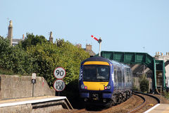 Turbostar train leaving Carnoustie station Stock Images